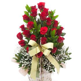 [플라워포유] 행복장미꽃바구니 (RM_RAC1051) [꽃바구니/결혼기념일/크리스마스/프로포즈/화이트데이/발렌타인데이]