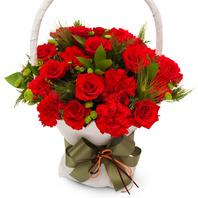 [기획상품] 장미 카네이션 바구니① (RM_RAC1056) [꽃바구니/결혼기념일/크리스마스/프로포즈/화이트데이/어버이날/스승의날/발렌타인데이