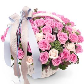 [플라워포유] 핑크꽃바구니 (RM_RAC2038) [꽃바구니/결혼기념일/크리스마스/프로포즈/화이트데이/발렌타인데이]
