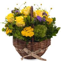 [플라워포유] 노랑꽃원형바구니 (RM_RAC4014) [꽃바구니/결혼기념일/크리스마스/프로포즈/화이트데이/발렌타인데이]