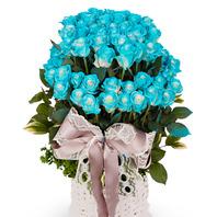 [플라워포유] 파란장미백송이2단바구니 (RM_RAC2063) [꽃바구니/결혼기념일/크리스마스/프로포즈/화이트데이/발렌타인데이]