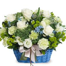 [플라워포유] 블루 & 화이트 (RM_RAC8107) [꽃바구니/결혼기념일/크리스마스/프로포즈/화이트데이/발렌타인데이]